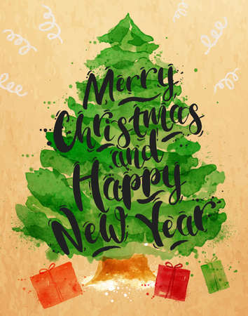 kraft paper: Watercolor poster Christmas tree lettering Merry Christmas and Happy New Year drawing in vintage style on kraft paper