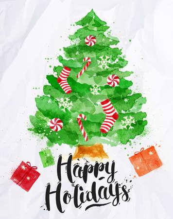 abetos: Cartel de la acuarela del árbol de Navidad decorado letras Felices Fiestas de dibujo en el estilo vintage en el papel arrugado