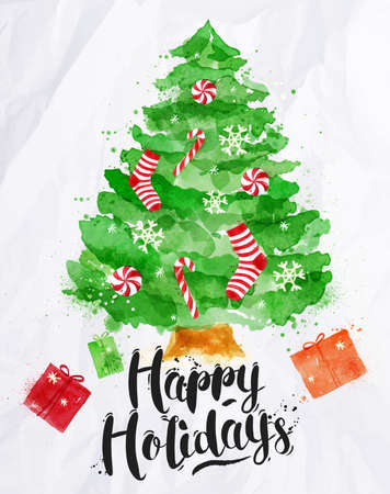 water color: Watercolor poster decorated Christmas tree lettering Happy Holidays drawing in vintage style on crumpled paper Illustration