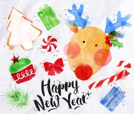 s�ssigkeiten: Aquarell-Weihnachts Zeichen Schriftzug Frohes Neues Jahr mit Hirsch, Keks, Kuchen, Geschenk, S��igkeiten, Bonbons, Band, Tannenzweig-Zeichnung im Vintage-Stil auf einem zerknitterten Papier