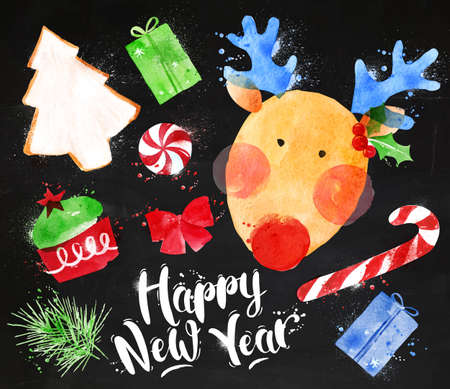 christmas cookie: Watercolor Christmas signs lettering Happy New Year with deer, cookie, cake, gift, sweets, candy, ribbon, fir branch drawing in vintage style on blackboard