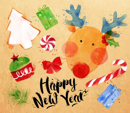 Watercolor Christmas signs lettering Happy New Year with deer, cookie, cake, gift, sweets, candy, ribbon, fir branch drawing in vintage style on kraft paper