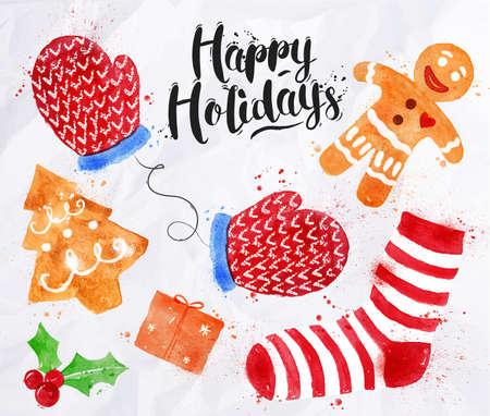 christmas cookie: Watercolor Christmas signs lettering Happy Holidays with cookie, gift, mittens, socks, gingerbread man drawing in vintage style on crumpled paper