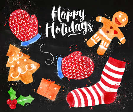 christmas cookie: Watercolor Christmas signs lettering Happy Holidays with cookie, gift, mittens, socks, gingerbread man drawing in vintage style on blackboard Illustration