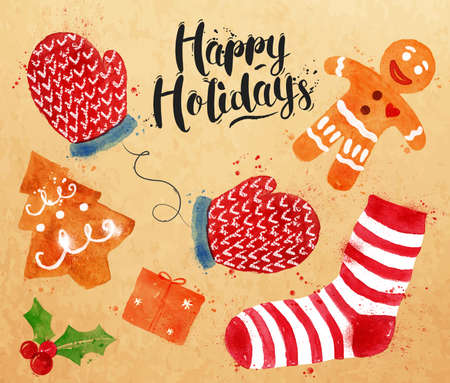 christmas cookie: Watercolor Christmas signs lettering Happy Holidays with cookie, gift, mittens, socks, gingerbread man drawing in vintage style on kraft paper