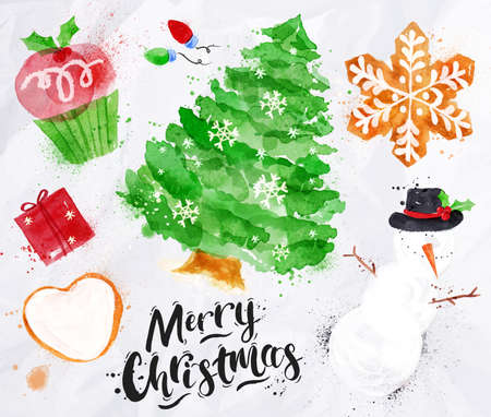 Watercolor Christmas symbols lettering Merry Christmas with cupcake, Christmas tree, gift, cookie, snowman, garland, snowflake drawing in vintage style on crumpled paper