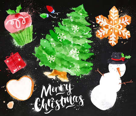 snowman: Watercolor Christmas symbols lettering Merry Christmas with cupcake, Christmas tree, gift, cookie, snowman, garland, snowflake drawing in vintage style on blackboard