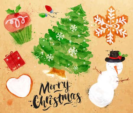 dessin: Aquarelle symboles de Noël Merry Christmas lettrage avec le petit gâteau, arbre de Noël, cadeau, biscuit, bonhomme de neige, guirlande, dessin de flocon de neige dans le style vintage sur papier kraft