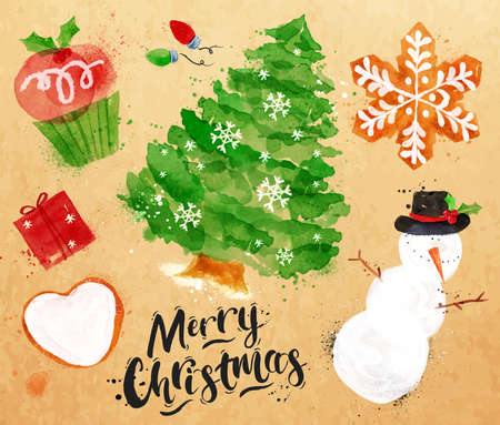 dibujo: Símbolos de la acuarela de letras Navidad Feliz Navidad con la magdalena, árbol de navidad, regalo, galleta, muñeco de nieve, guirnalda, dibujo copo de nieve en estilo vintage en el papel kraft Vectores