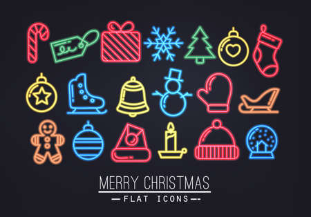 christmas three: Christmas flat icons in neon style drawing with color Illustration
