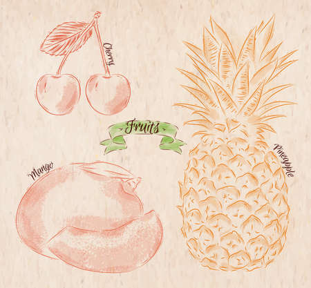country style: Fruit painted in country style cherry, mango, pineapple
