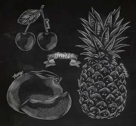 chalk outline: Fruit painted in chalk style cherry, mango, pineapple Illustration