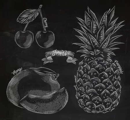 pineapple: Fruit painted in chalk style cherry, mango, pineapple Illustration