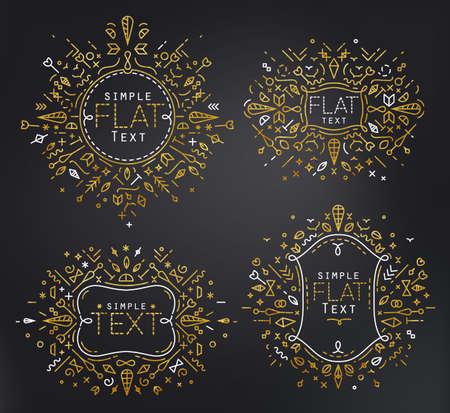 twenties: Gold linear monograms. Simple minimalist templates. Set of four shapes for branding and logo design. Modern elegant frames.