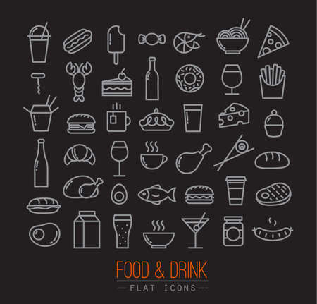 Set of flat food icons drawing with grey lines on black background