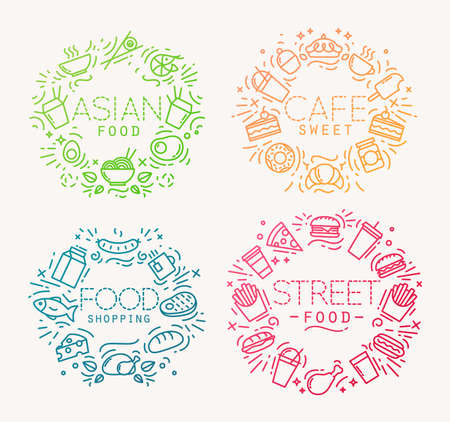 Color linear flat food monograms. Set of simple minimalist and modern templates. Illustration