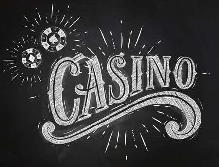poker cards: Casino sign with playing chips drawing with chalk on chalkboard