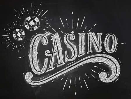 cartas poker: Muestra del casino con fichas de juego de dibujo con tiza en la pizarra Vectores