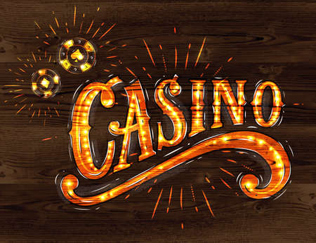 Casino sign with playing chips drawing with on wood background