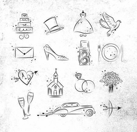 Set Hochzeitsikonen Thema Zeichnung mit schwarzer Tinte auf schmutzigen Papier