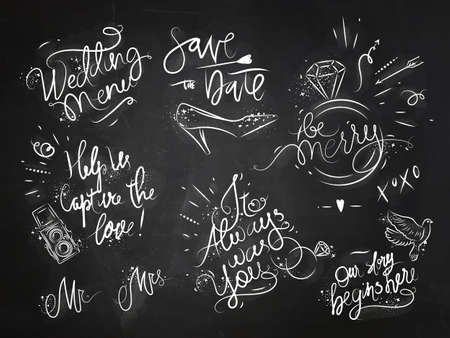 typography: Set of signs on wedding theme drawing with white ink on black paper