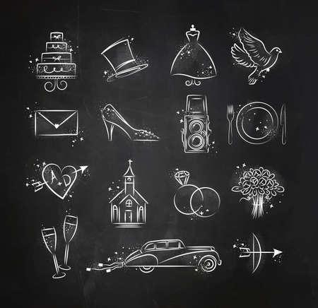 Набор свадебных иконок тему рисунка с белыми чернилами на черной бумаге