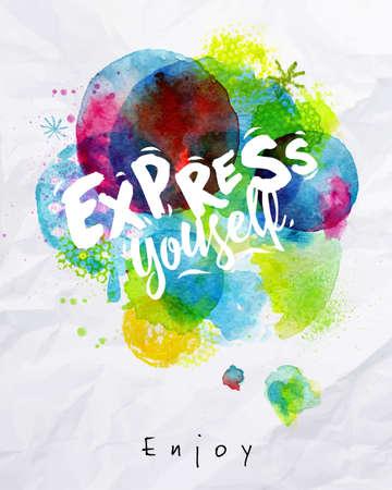 수채화 생생한 포스터 문자는 구겨진 종이에 그리기 자신을 표현 일러스트