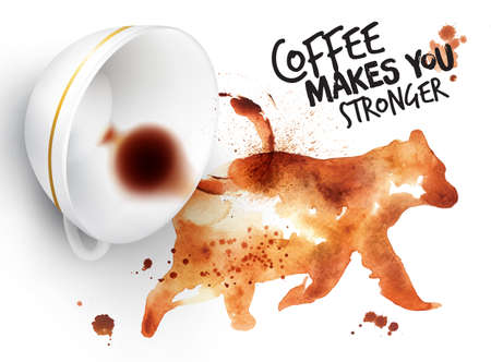 Poster drawn coffee imprint of bear and inverted cup with spilled coffee, lettering coffee makes you stronger. Vectores