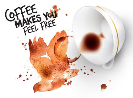 Poster drawn coffee imprint of bird and inverted cup with spilled coffee, lettering coffee makes you feel free. Vectores