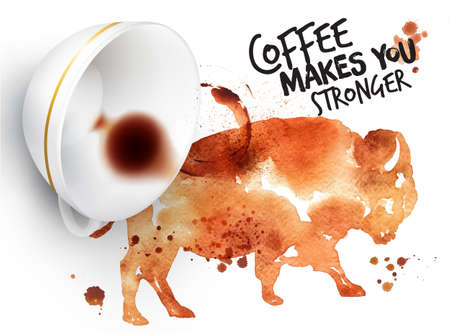 stronger: Poster drawn coffee imprint of buffalo and inverted cup with spilled coffee, lettering coffee makes you stronger. Illustration