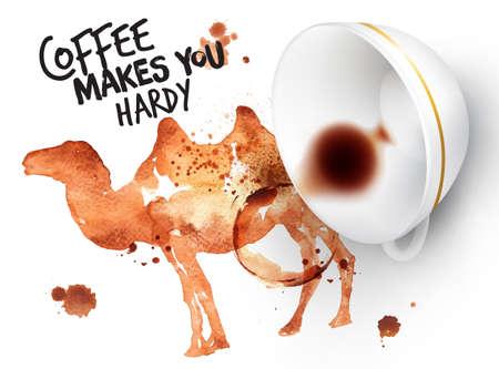 granos de cafe: Cartel dibujado impronta de café del camello y copa invertida con café derramado, letras de café que hace resistente.