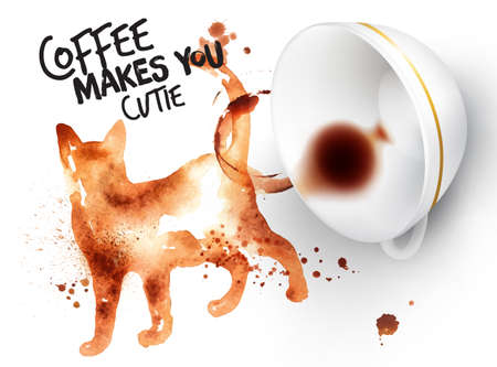 drinking coffee: Poster drawn coffee imprint of cat and inverted cup with spilled coffee, lettering coffee makes you cutie.