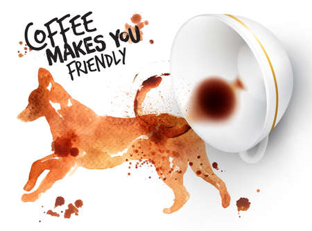 inverted: Poster drawn coffee imprint of dog and inverted cup with spilled coffee, lettering coffee makes you friendly.