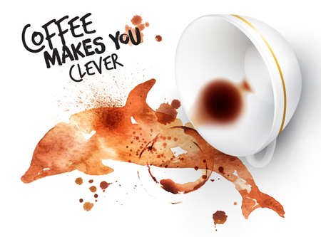 coffee stains: Poster drawn coffee imprint of dolphin and inverted cup with spilled coffee, lettering coffee makes you clever.