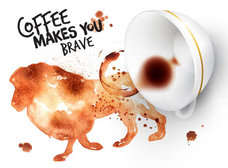 Poster drawn coffee imprint of lion and inverted cup with spilled coffee, lettering coffee makes you brave. Vectores