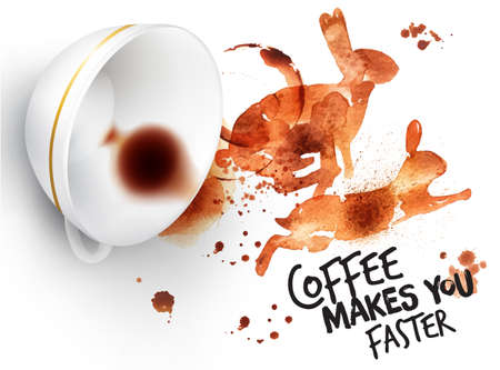 inverted: Poster drawn coffee imprint of rabbit and inverted cup with spilled coffee, lettering coffee makes you faster. Illustration