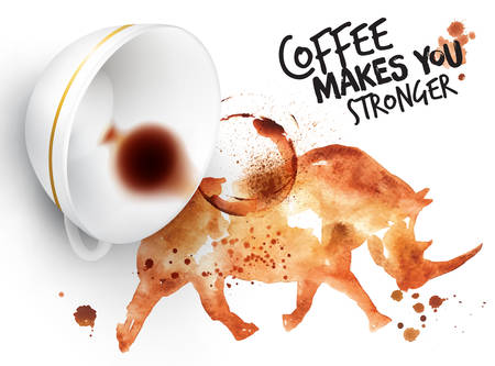 stronger: Poster drawn coffee imprint of rhino and inverted cup with spilled coffee, lettering coffee makes you stronger.
