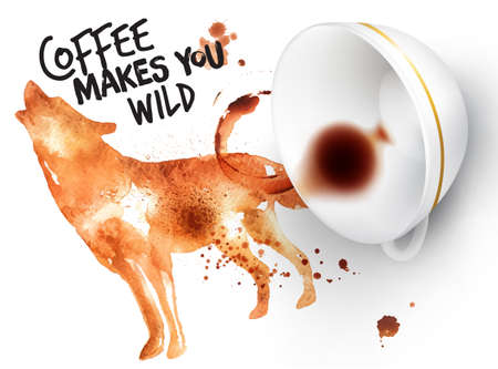 Poster drawn coffee imprint of wolf and inverted cup with spilled coffee, lettering coffee makes you wild. Vectores