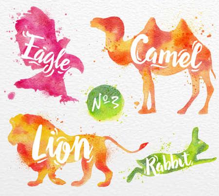 동물 낙타, 독수리, 사자, 수채화 용지의 배경에 토끼 그림 색 페인트의 실루엣