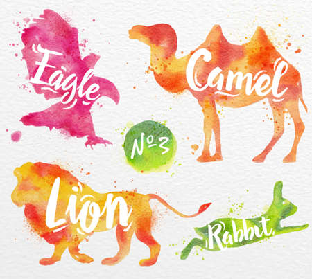Siluetas de animal camello, águila, león, conejo pintura de color de dibujo sobre fondo de papel de acuarela