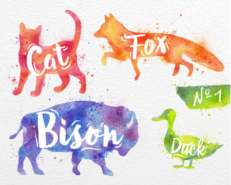 foxes: Silhouettes of animal cat, fox, bison, duck drawing color paint on background of  watercolor paper