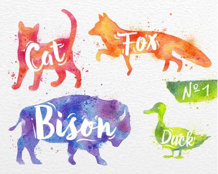 Sziluettek állat macska, róka, bölény, kacsa rajz színes festék a háttérben akvarell papír Illusztráció