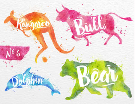 dolphin: Silhouettes of animal dolphin, bear, bull, kangaroo drawing color paint on background of  watercolor paper Stock Photo