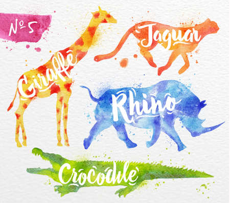 Silhouettes of animal giraffe, rhino, crocodile, cheetah drawing color paint on background of  watercolor paper 스톡 콘텐츠