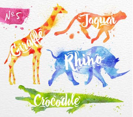 guepardo: Siluetas de animales de la jirafa, rinoceronte, cocodrilo, guepardo dibujo pintura del color en el fondo de papel de acuarela