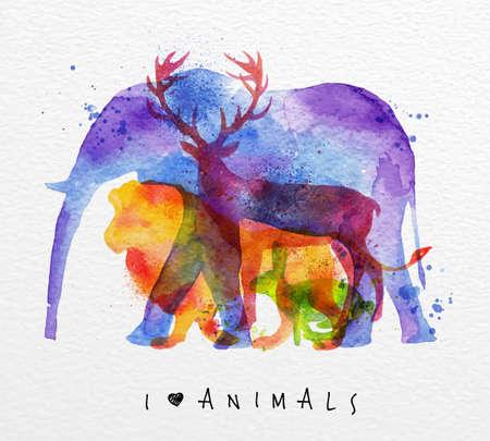 Barevné zvířata, slon, jelen, lev, králík, kreslení přetisk na akvarel papír pozadí nápisem Miluju zvířata