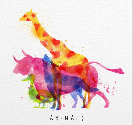 Color animals ,giraffe, wolf, duck,  bull, drawing overprint on watercolor paper background lettering animals