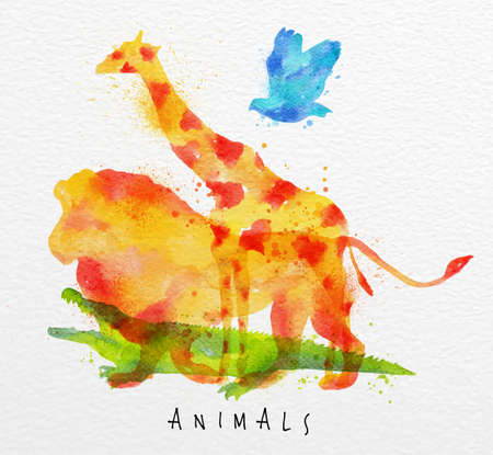 Color animals ,bird, giraffe, lion, crocodile, drawing overprint on watercolor paper background lettering animals Ilustração