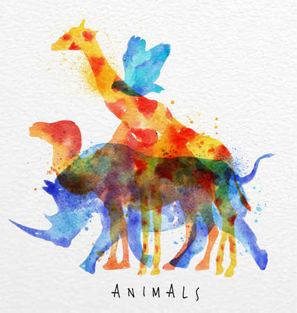 Color animals ,bird, rhino, giraffe, camel, drawing overprint on watercolor paper background lettering animals