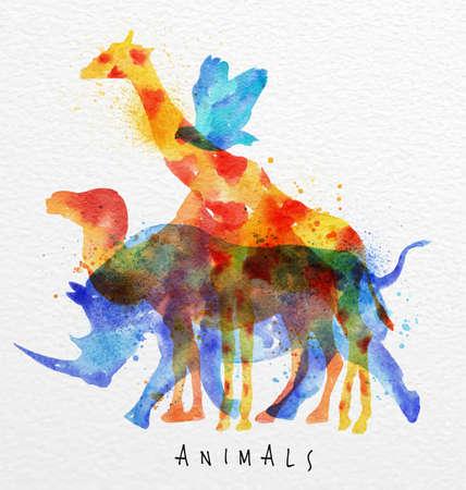 Animales de color, pájaro, rinocerontes, jirafas, camellos, dibujo sobreimpresión de la acuarela de fondo de papel animales de letras